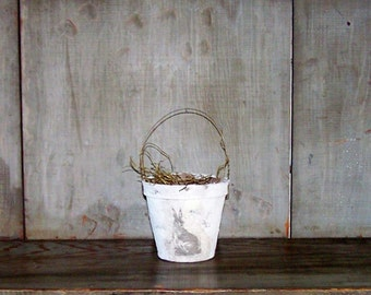 Rustic White Easter Basket with Vintage Bunny Rabbit Image - READY TO SHIP