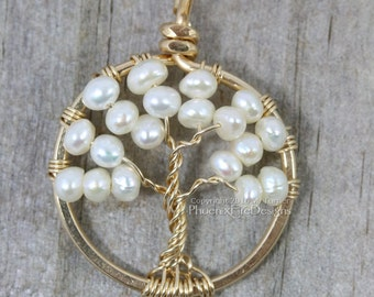 Mini 14k gf pearl Tree of Life Pendant Gold Wire Wrapped Jewelry Woodland Weddings June Birthstone Necklace Miniature Wire Tree Delicate RTS