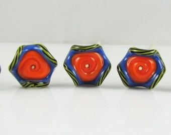 Orange, Blue, and Yellow Glass Ruffle Disc Beads -Set of 5