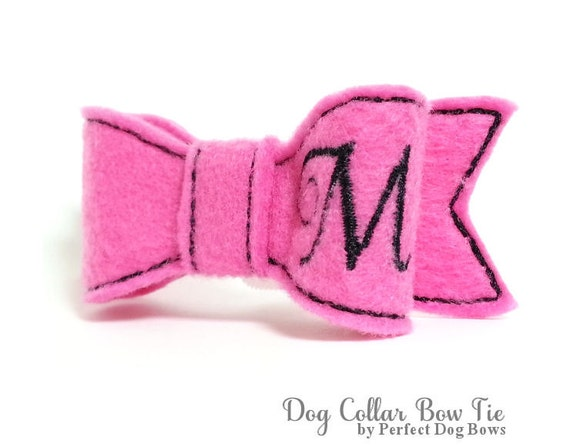 Hot Pink Dog Collar Bow Tie, Personalized Dog Bow Tie, Dog Bowtie, Harness Collar Bow