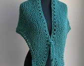 Hand Knit Small Shawl Wrap Comfort Prayer Meditation, Teal Green, Acrylic Vegan, Ready to Ship, FREE SHIPPING