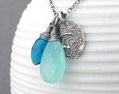 RESERVED for K - Custom Rachel Necklace with Teal Quartz, Aqua Chalcedony and Bouquet of Daisies Pendant