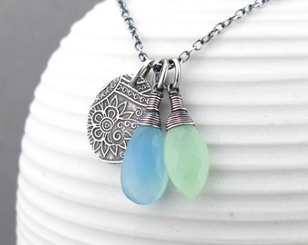 Long Silver Necklace Pendant Blue and Green Gemstone Necklace Blue Necklace Silver Pendant Necklace Bohemian Jewelry Gift for Women - Duets