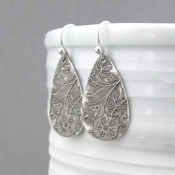 Simple Modern Silver Earrings Sterling Silver Teardrop Earrings Floral Jewelry Gift for Her Unique Handmade Jewelry - Abigail