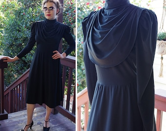 NOIR 1970's Vintage Solid Black Victorian Styled Dress with Long Sleeves + Draped High Collar // Medium // by Phillipe Godur for FERRALI