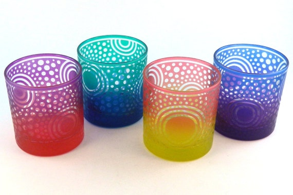 Bullseye Sun - Lowball Tumbler Glasses - Clear Style - Etched and Painted Glassware - Custom Made to Order