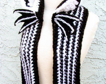 Skeleton Face Hooded Scarf - Handmade Crocheted Scoofie, Made w/Black & White Acrylic Yarn