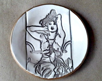 Ceramic Ring Bowl edged in gold Mucha