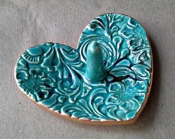 Ceramic Ring Holder Heart Bowl Malachite GREEN edged in gold Flourish