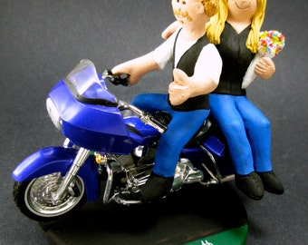 Goateed Groom on a Harley Wedding Cake Topper, Harley Wedding Anniversary Gift/Cake Topper, Motorcycle Bride and Groom Wedding Cake Topper.