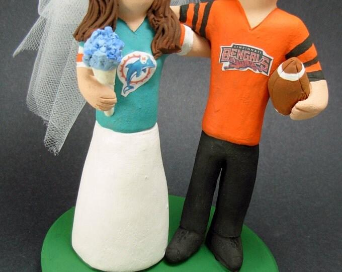Miami Dolphins Football Wedding Cake Topper, Cincinnati Bengals Wedding Cake Topper, Cincinnati Bengals Wedding Anniversary Gift/Cake Topper