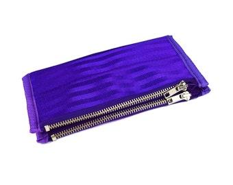 Women's Double-Zipper Seatbelt Wallet in Purple
