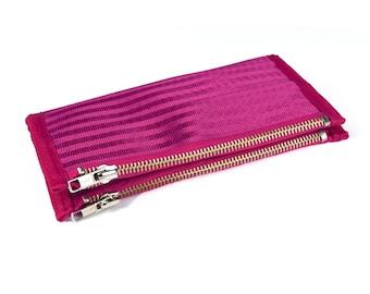Women's Double-Zipper Seatbelt Wallet in Pink