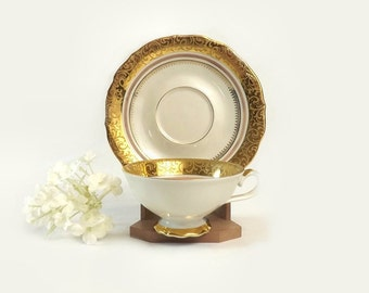 Johann Seltmann Demitasse Cup and Saucer, White & Gold Teacup, Vohenstrauss Bavaria, Elegant Dining, Vintage Kitchen Cabinet Display