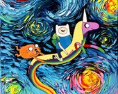 Adventure Time Art - Starry Night Giclee print van Gogh Never Went On An Adventure by Aja 8x8, 10x10, 12x12, 20x20, and 24x24 choose size
