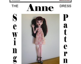 "17"" MONSTER HIGH (Large) Sewing Pattern ""Anne"" Dress PDF Download by Dolly Delicacies"