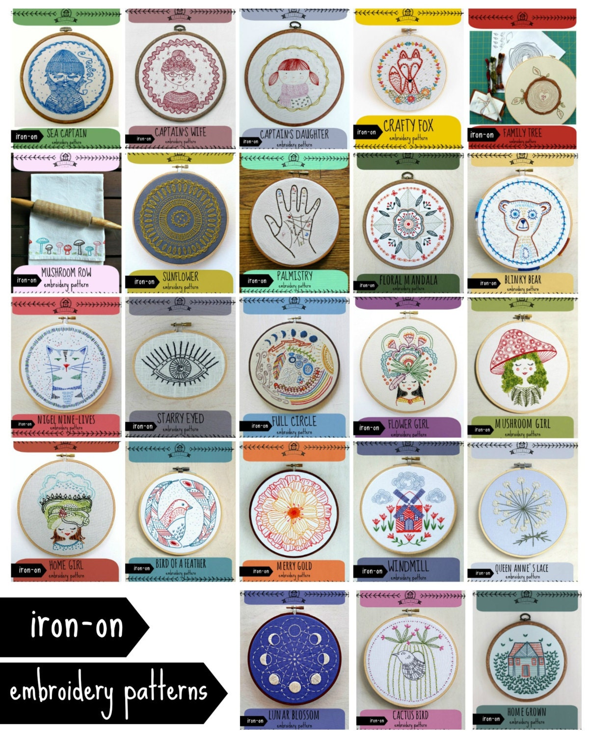 Iron on transfer embroidery patterns diy craft by