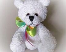White Knitted Teddy Bear, Jointed Bear, Collectible Teddy Bear, Artist Teddy Bear, Hand Knitted Teddy Bear