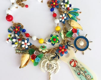 Seaside Holiday - Vintage Repurposed Charm Necklace,  Statement Necklace - Babes In Toyland