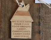 four main food groups wooden elf ornament