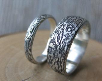 Wedding band set BIRDSEYE MAPLE branch twig wood ring woodgrain ring sterling silver Made to Order