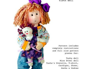 Cloth doll pattern - 14 inch cloth rag doll sewing - Tasha PDF pattern