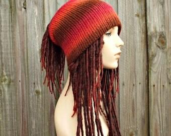 Double Knit Hat - Messy Bun Hat Dread Dreadlock Hat Beanie Tube Hat - Dreadlock Headband Head Wrap - Brown and Pink Tube Hat For Dreads