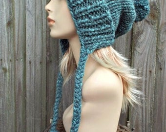 Turquoise Blue Slouchy Hat Womens Hat - Mixed Blue Hat Blue Beanie Blue Slouchy Beanie - Charlotte Slouchy Ear Flap Hat