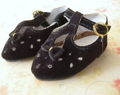 Vintage Doll Shoes Black Velvet Dress Shoes NEW IN PACKAGE Tallina's Doll Supplies Style 445 Size 5