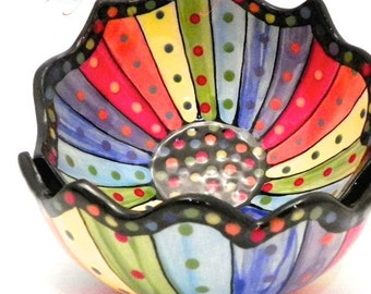 Rainbow Striped Ceramic Bowl (1) One Stoneware Made to Order BWL0008
