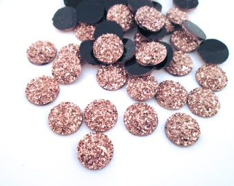 10 Rose Gold 12mm Resin Druzy Cabochons, E137