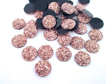 10 Rose Gold 12mm Resin Druzy Cabochons, E137
