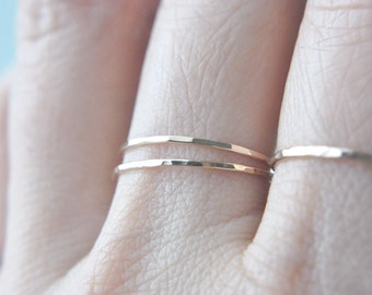 2 Solid 14K Yellow Gold EXTRA Skinny stacking ring set - delicate dainty gold rings - faceted hammered texture - two thin rings / Silk 0.8mm