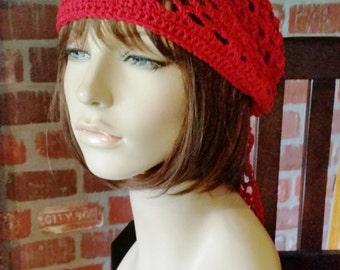 hand crochet bandana dorag women bandana men bandana dreadlock snood womens accessories  ~ gypsy spirit mesh ~  red  unisex cobasi