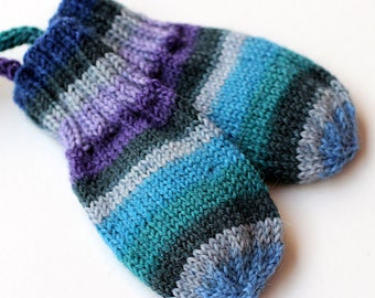 Baby Thumbless Striped Mittens On a String. No Thumb Hand Knit Wool Infant Mitts. 3 to 9 Months. Kids Blue Ombre Stripe Winter Handwarmers