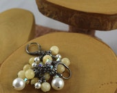 Yellow Calcite and Swarovski Crystal and Pearl Glam cascade earrings perfect for prom weddings or just everyday