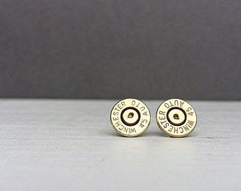 45 winchester bullet earrings | sterling silver stud earrings | gift for him | gift for her