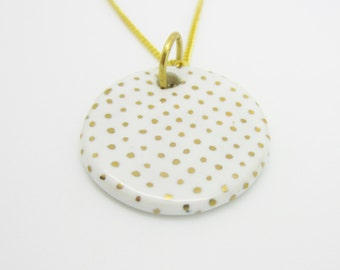 """White and Gold Polka Dots Ceramic Necklace 18"""" Chain Gold Finish"""