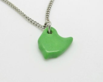 Small Green Ohio Necklace Glazed Ceramic on an 18 inch Silver Chain