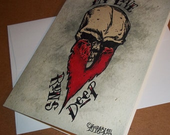 My Love Runs Deep Skull Card Romantic  5x7 Greeting Card Blank inside by Agorables Ruler of the Undead