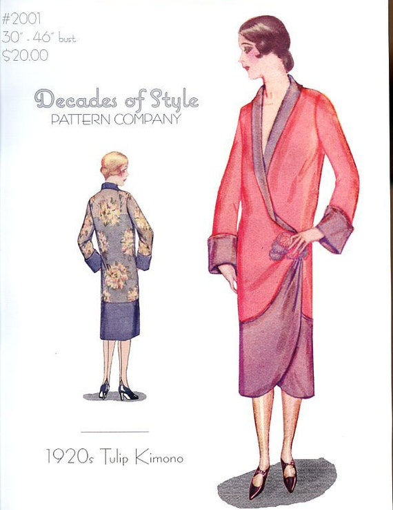 1920s Patterns – Vintage, Reproduction Sewing Patterns 1920 Tulip Kimono $20.00 AT vintagedancer.com