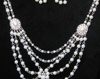 Classic White Pearl Necklace with Earrings