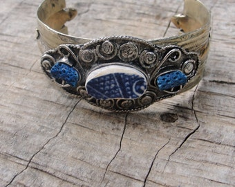Myths and Legends Cuff Vintage Bracelet Beach Tile Blue Coral Delft Blue Pottery