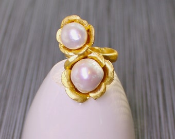 Cocktail Hour, Double Flameball Pearl Ring, Gold Vermeil Setting in an Adjustable size...