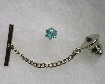 5mm Blue Apatite Gemstone in 925 Sterling Silver Tie Tack