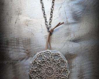 Crocheted Lace, River Stone Necklace, Handmade, Gray Stone, Nature, Tribal, Bohemian, Monicaj