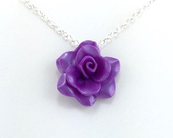 Medium Bright Purple Rose Pendant - Simple Rose Necklace - Purple Rose Necklace - Bridesmaid, Wedding Jewelry - Polymer Clay - MADE to ORDER
