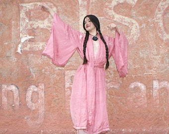1920s Chinese Deco Embroidered Piano Shawl belt tasseled Robe Boudoir Queen