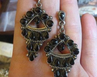 Vintage Sterling Silver Black Onyx Dangle Earrings Boho Gypsy