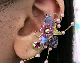 Purple Flowers Garden And Bird Ear Cuff Woodland Gold Wings Free Elegant Feminine Bling Nature